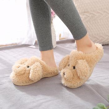 2019 New Autumn Winter Women Slippers cute cartoon puppy teddy wool cotton Home Soft anti-slip Fur Indoor Floor women Men Shoes 4