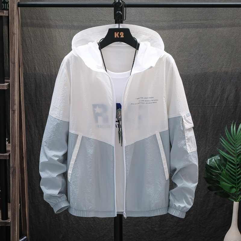 MANTLCONX 2020 Sommer männer Sonnenschutz Jacken Männer Mit Kapuze Patchwork Jacke Outwear Dünne Licht männer Sommer Jacke Mode