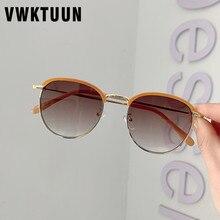 VWKTUUN Vintage Round Sunglasses Women Half Frame Eyebrow Sun glasses For Men Lu