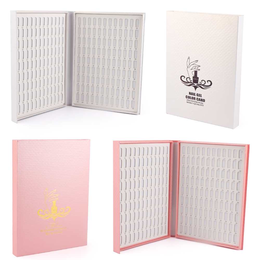 216 Colors Nail Display Book White&Pink Nail Box Card Chart Painting Manicure Dedicated Nail Art Tools Book Design Easy To Carry