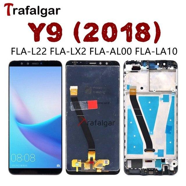 Trafalgar display para huawei y9 2018 lcd tela de toque digitador assembléia com moldura para huawei y9 2018 lcd FLA LX1 lx3