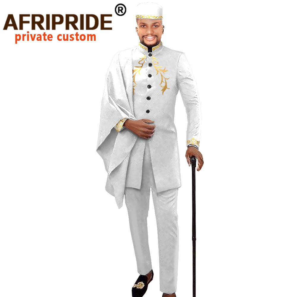 African Men Clothing For Party Wedding Dashiki Printed Coats Ankara Pants And Hat 3 Piece Set Tribal Suit Wax AFRIPRIDE A2016017