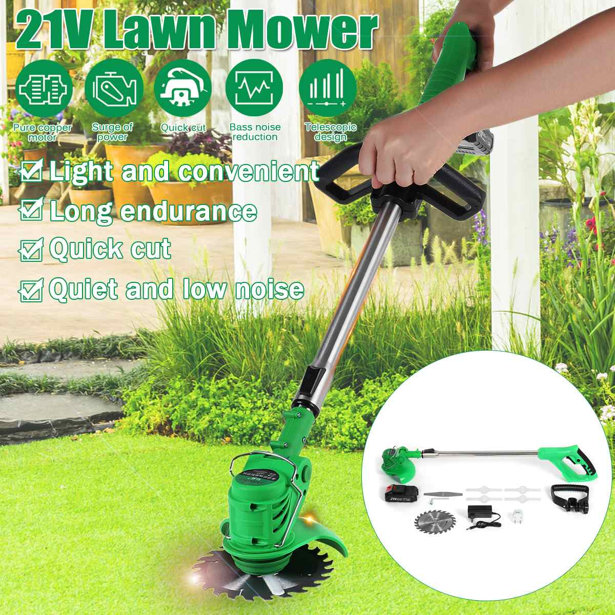 650W 2000mah Rechargeable Wireless Grass Trimmer 21V Adjustable Electric Garden Push Lawnmower 1Battery 1Charger Lawn Mower