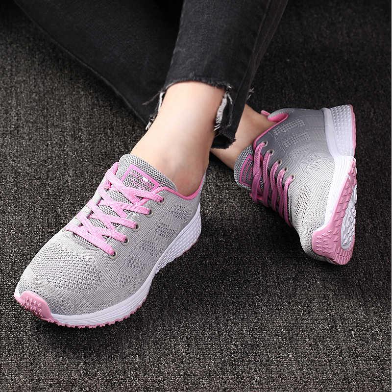 Kobiety obuwie dla kobiet moda oddychające Walking płaskie buty z siatką trampki kobiety 2020 siłownia Tenis Feminino Zapatos De Mujer