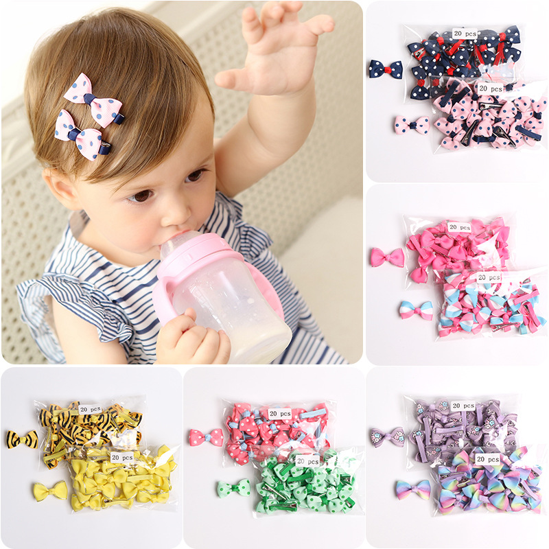 40Pcs/lot 4CM Baby Hair Bows Mini Cut Hairpins Print Ribbon Bowknot Clip for Girls Safe Clips Children Accessories