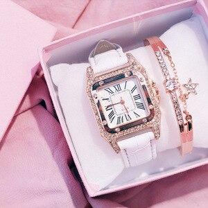 Image 2 - Moda kadın izle deri kayış saatler lüks bayanlar kuvars saatı zarif kadın elmas İzle saat Relogios Femininos