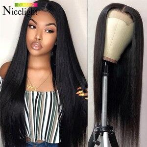 Image 1 - Nicelight cheveux raides 360 dentelle frontale perruque brésilienne Remy cheveux perruque pré plissé dentelle fermeture perruque dentelle avant perruques de cheveux humains
