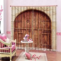 Home Bedroom Decor Old Vintage Wood Doors Shower Curtain Mat DecorativePolyester Fabric Blackout Curtain Set