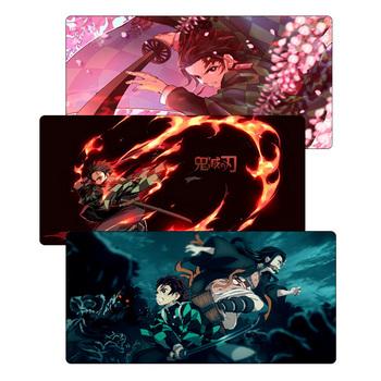 Duża 60x30cm podkładka pod mysz Anime Demon Slayer Kimetsu no Yaiba podkładka pod mysz gamingową Gamer zabezpieczona krawędź Otaku biurko na laptopa mata komputerowa tanie i dobre opinie SIANCS RUBBER Z nadgarstek Zdjęcie anime mouse pad mouse pad anime mouse pad otaku demon slayer mouse pad mousepad gamer