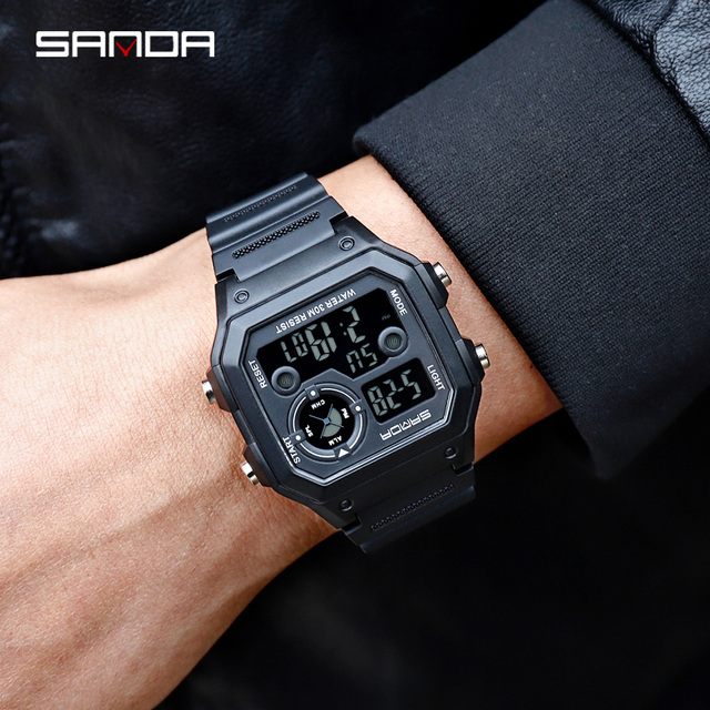 SANDA Brand Men Sports Watches Fashion Chronos Countdown Men's Waterproof LED Digital Watch Man Military Clock Relogio Masculino