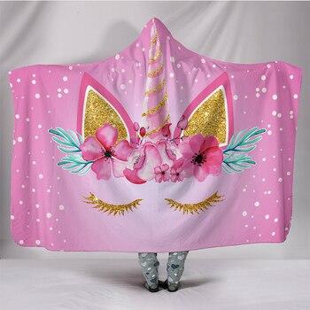 3D Champagne Flower Unicorn Printed Hooded Blanket 3