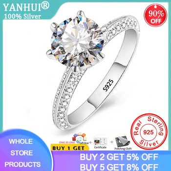YANHUI Luxury 2.0ct Lab Diamond Wedding Engagement Rings for Bride 100% Real 925 Sterling Silver Rings Women Fine Jewelry RX279 yanhui silver 925 jewelry eternity 1 carat lab diamond wedding rings luxury original 925 silver rings gift for women jz068