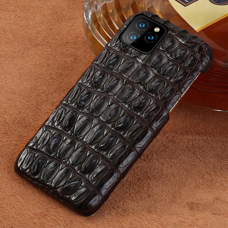 Crocodile En Cuir Véritable étui pour iphone 11 pro max 6.1 Original De Luxe couverture arrière Pour iphone 11 cas xr xs max 7 8 plus fundas