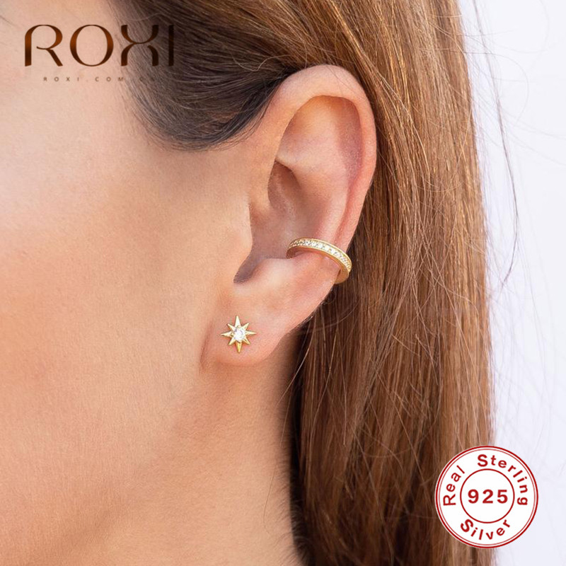 ROXI 925 Sterling Silver Star Zircon Stud Earrings For Women Brincos  Authentic Sterling Silver Jewelry Tiny Star Cute Ear Studs