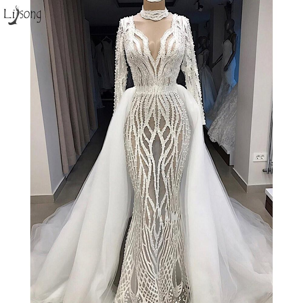 Real Image Illusion Lace Pearls Mermaid Wedding Dresses With Detachable Train Full Sleeves Bridal Gowns Vestidos De Novia 2019