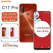 OUKITEL teléfono inteligente C17 Pro de 6,35 pulgadas, Android 9,0, 4GB RAM, 64GB rom, banda 19:9 Dual 4G, identificación facial con huella dactilar, Octa Core, 3900mAh