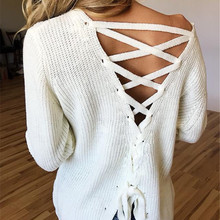 Women Streetwear Sweater Top Patchwork Bandage Hollow Out Design O-Neck Long Sleeve Solid Top