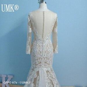 Image 4 - UMK Long Sleeve Mermaid Wedding Dress 2020 Chic Lace Boho Wedding Gowns Pearl sequins See Through Sexy Vestido De Noiva