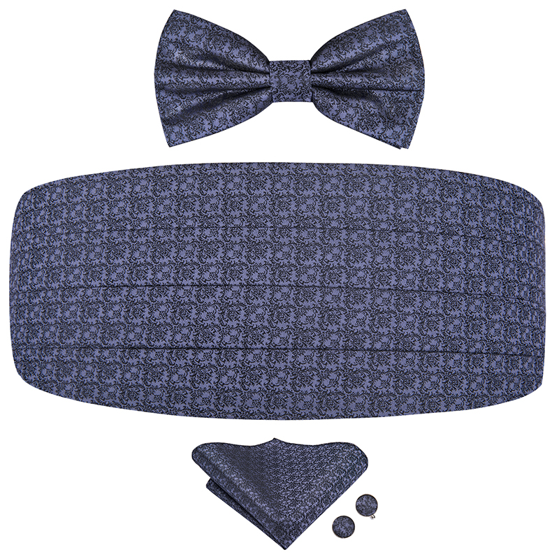 YF-2008 Hi-Tie Silk Men's Wedding Cummerbund Bow Tie Hanky Cufflinks Set Tuxedo Cummerbunds Grey Elastic Wide Ceremonial Belt