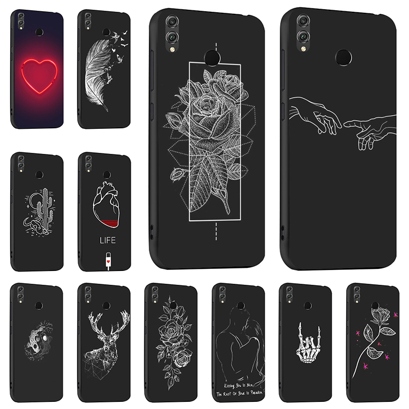 Black Silicon Honor 8X Case Silicon Soft TPU Case For Huawei Honor Play 8A 9 10 Lite Honor8X Honor8A Cases Cover Fundas Bumper image