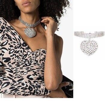 Timeless Wonder Crystal Zircon Pave Chunky Heart Choker Necklace Women Jewelry Punk Designer Top Fine Trendy Boho Hip Hop 5488 - discount item  22% OFF Fashion Jewelry