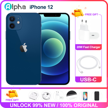 Original Apple iPhone 12 Used 99% New 5G LTE phone 6.1'' 4GB 64/128/256GB IOS A14  Face ID Battery Health 100 1