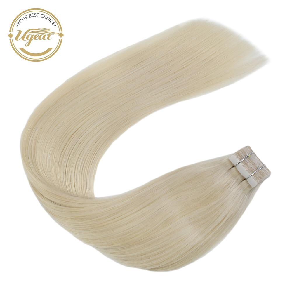 Ugeat Tape In Human Hair Extensions Real Brazilian Hair 10P/20P/40P Machine Remy Silky Straight Seamless Skin Weft Solid Color
