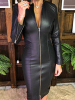 Women Elegant Slim Zipper Design PU Bodycon Dress Vintage Winter Dress