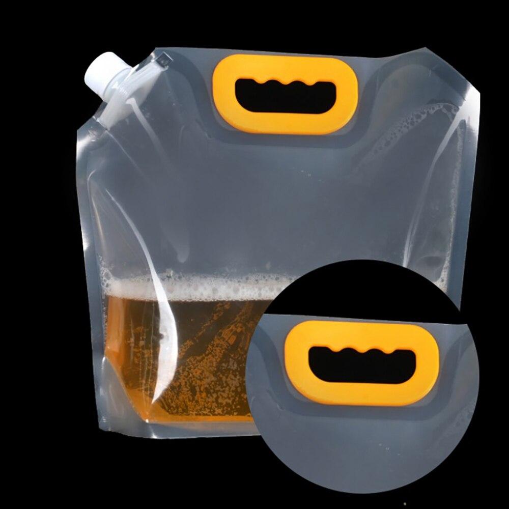 1.5/2.5/5L sacs à eau portable clair boissons sacs flacons liqueur poches plastique liqueur bec poches pour bière soja lait café