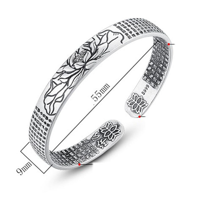 XIYANIKE 925 Sterling Silver Cuff Bracelet Vintage Simple Lotus Flower Religious Jewelry Thai Silver Party Accessories for Women