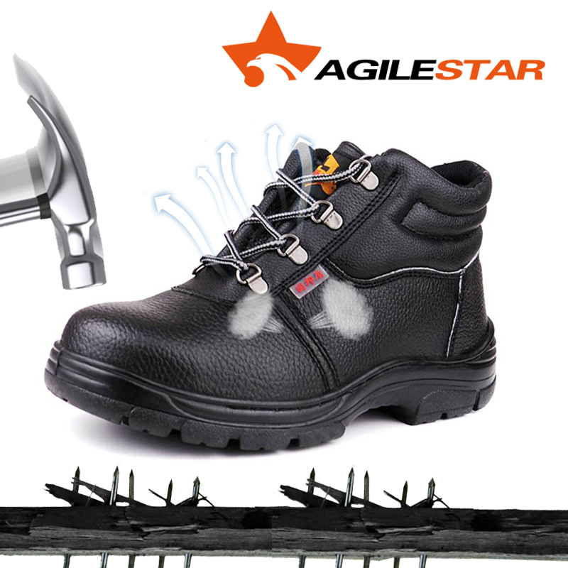 Four Season Classic Black Leather Safety Work Shoes For Men Factory Working Breathable Steel Toe Comfortable Protective Footwear
