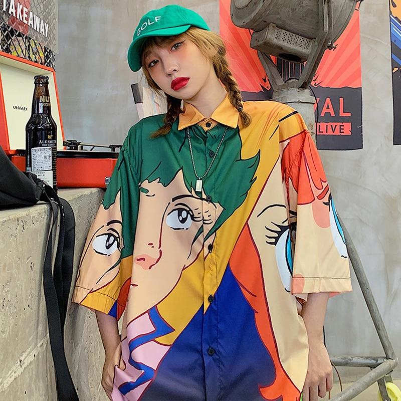 New Summer Shirts Women Harajuku Shirts Loose Short Sleeve Shirt Scute Cartoon Shirts Oversize Shirts Female Chiffon Blouse