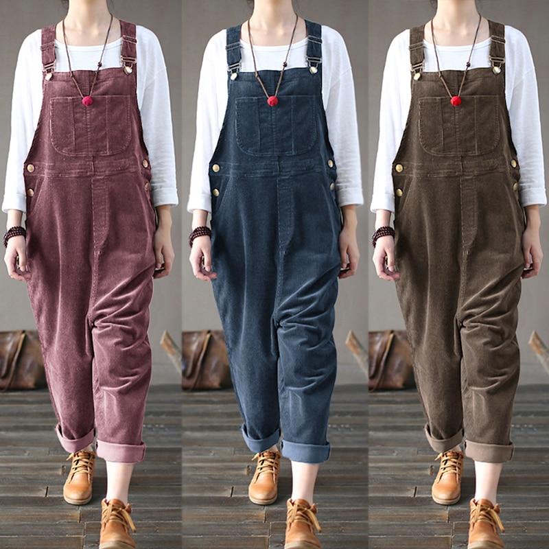 Kaftan Corduroy Overalls Women's Jumpsuits 2019 Autumn Harem Pants Casual Long Pantalon Palazzo Female Button Rompers Playsuit 7