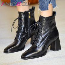 Meotina – bottines en cuir véritable marron pour femme, chaussures à talons hauts, bout carré, épais, fermeture éclair, nouées en croix, collection automne