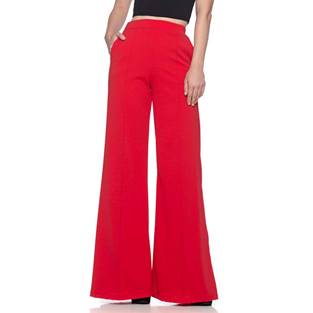 Baggy   Pants   Women Plus Size Women   Pants   Women High Waist Solid Loose   Wide   Long Trousers Streetwear pantalon femme 2019 New z1002