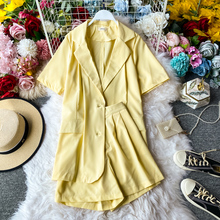 Summer Blazer coat Women Retro British Casual Chic Small Suit With High-Waisted