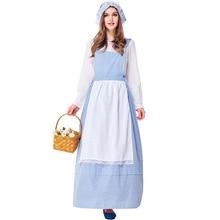 Disfraz de sirvienta Dirndl para adultos, vestido de fiesta Colonial Vintage de pueblo, delantal elegante de granja, traje azul de cuadros para escenario, Cosplay para mujeres