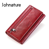Johnature 2019 New Fashion Genuine Leather Multifunctional Rfid Long Wallet Card Holder Women Wallets Phone Purse Hand Wallet