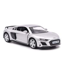 Audi r8 1/36 diecast veículo de metal puxar para trás carros modelo brinquedos para a coleção do menino presente natal escritório decoração casa