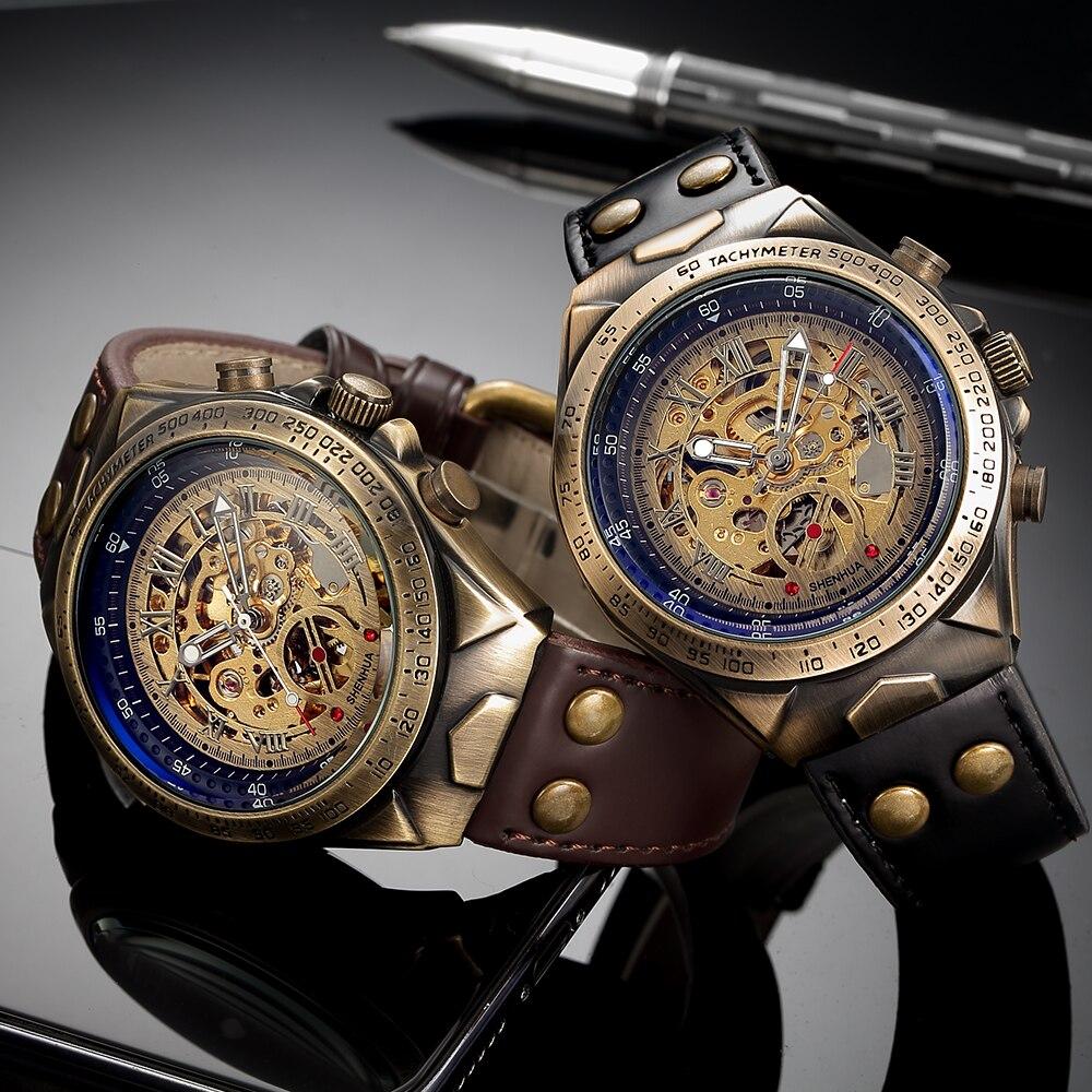 Retro Style Men Automatic Mechanical Watch Skeleton Steampunk Genuine Leather Band Mens Self Winding Wrist Watches Men Reloj