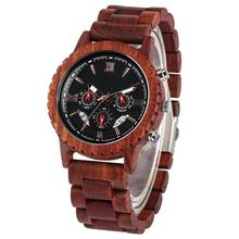 Red Sandalwood Strap Wooden Watch Men Blue Dial with Luminous Pointers Delicate Wristwatch Business Clock Timepieces