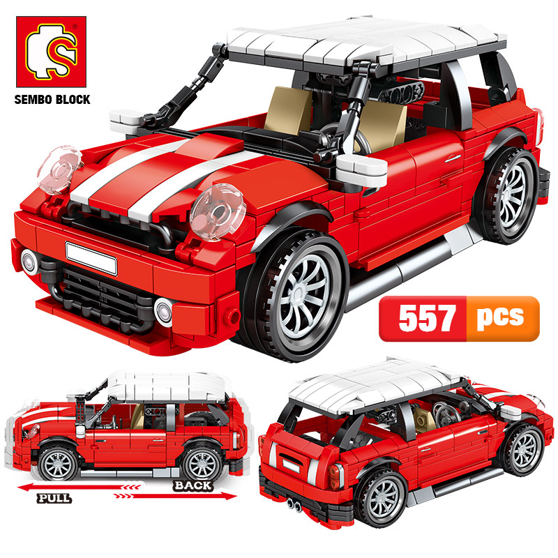 SEMBO 557pcs City Creator Red Pull Back Vehicle Building Blocks Technic Racing Car MOC Model Bricks Toys For Children