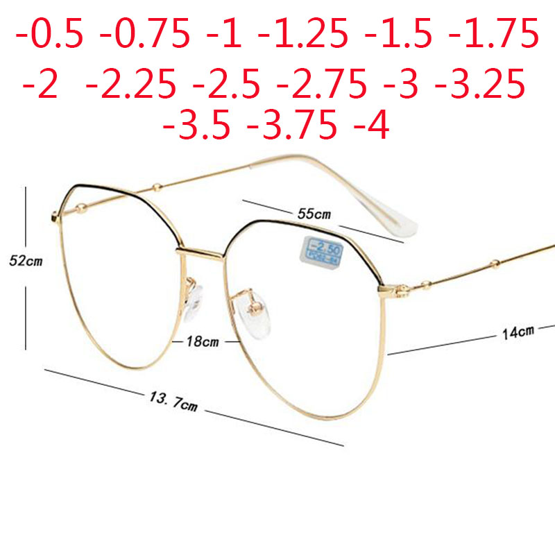 Metal Irregular Polygon Myopia Eyeglasses Women Men Prescription Spectacles Eyewear -0.5 -0.75 -1 -1.25 -1.5 -2 -2.5 -3 -3.5 -4