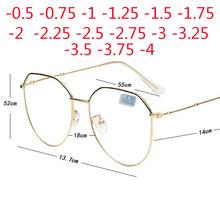 Metalowe nieregularne wielokąta okulary dla krótkowzrocznych kobiet mężczyzn okulary korekcyjne okulary-0 5-0 75-1-1 25-1 5-2-2 5-3-3 5-4 tanie tanio BINSYSU Jasne Kobiety Mężczyźni Unisex Lustro 5 5cm Poliwęglan Big Oversized Frame Eyeglasses Ze stali nierdzewnej Okulary do czytania