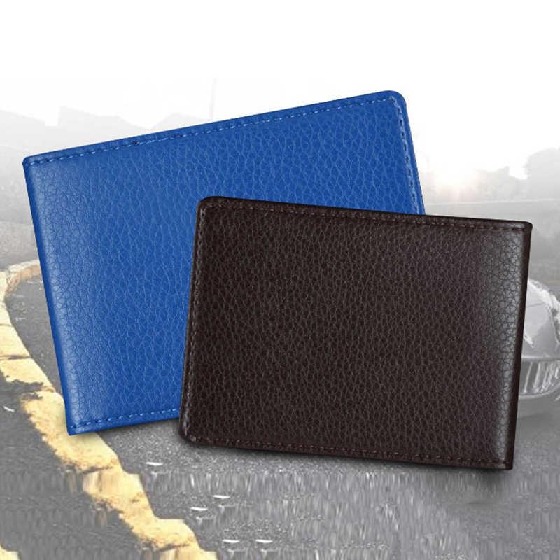 Funda de color sólido para documentos de conducción de automóviles PU titular de licencia de conducir documentos carpeta de negocios cartera cubierta titular de tarjeta de negocios