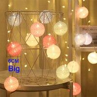Guirnalda de luces LED de algodón con bolas, guirnalda de bolas de algodón con batería USB de 6CM y 40, para fiestas de cumpleaños