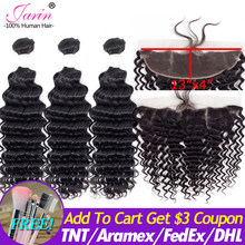 Jarin Deep Wave Hair Bundles With Lace Frontal Closure 13*4 Ear To Ear Brazilian Remy Human Hair Weave With Frontal Can Do Wigs(China)