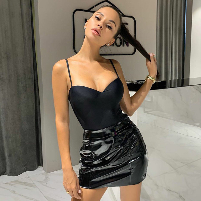 2020 Summer Rompers Woman Jumpsuits Fashion Solid Slash Neck Sleeveless Casual Slim Sheath Sexy Women Bodysuits Rompers Female
