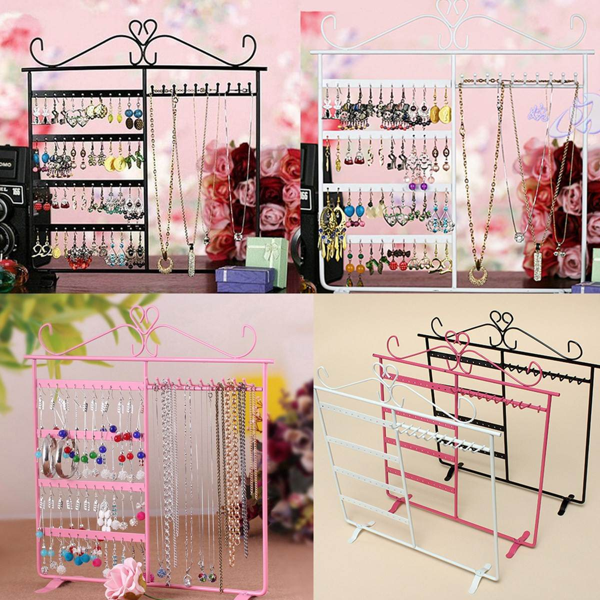 48 Holes Jewelry Handing Rack Earring Necklace Chain Showcase Display Stand Metal Iron Stand Holder Fashion Jewelry Hanger