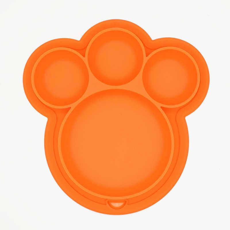 เด็กซิลิโคนแผ่น BPA ฟรีการ์ตูนหมี Paw รูปร่างเด็กอาหารค่ำจานดูด Toddle การฝึกอบรมบนโต๊ะอาหารเด็กให้อาหารชาม